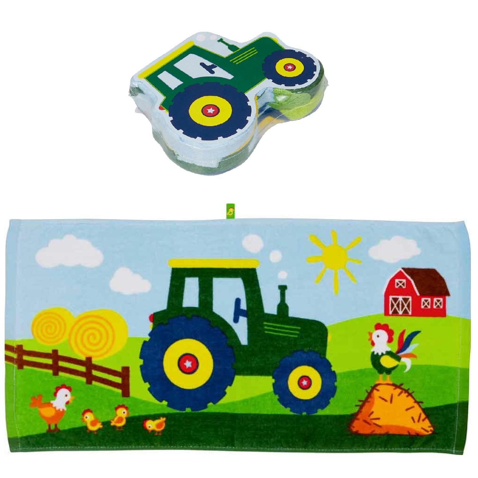 """Волшебное полотенечко """"Зеленый трактор"""""""