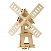 """Деревянный 3D паззл """"Ветряная мельница"""" 2 (на солнечных элементах)"""
